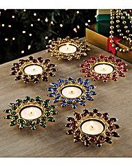 Jewel Tealight Holders Set of 6