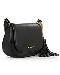 Michael Kors Black Flapover Saddle Bag