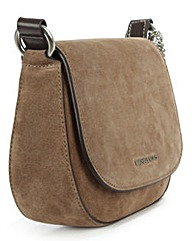 Michael Kors Taupe Flapover Saddle Bag