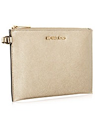 Michael Kors Pale Gold Lether Clutch Bag