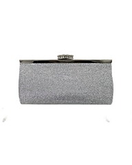 Metallic stone clasp clutch bag