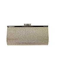 Metallic stone clasp clutch bag
