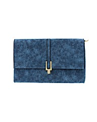 Suede effect fold over clutch
