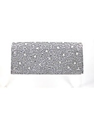 Jewelled sequined clutch bag