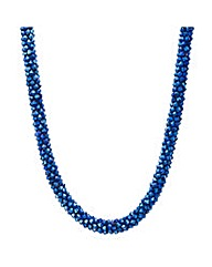 Mood Metallic blue beaded necklace