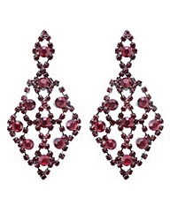 Mood Red diamante chandelier earring