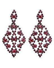 Mood Red diamante chandelier earring