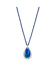 Mood Metallic blue teardrop necklace