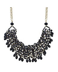 Mood Jet cluster bead statement necklace