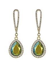 Mood Metallic green teardrop earring