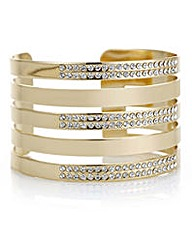 Mood Gold pave row cuff bracelet