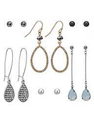 Mood Multi tone crystal earring pack