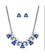 Mood Metallic blue cluster jewellery set
