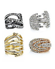 Mood Multi tone pave ring set