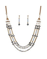 Mood Rose gold multi row jewellery set