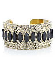 Mood Black crystal ornate cuff bracelet
