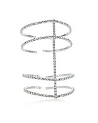Mood Silver diamante row cuff bracelet