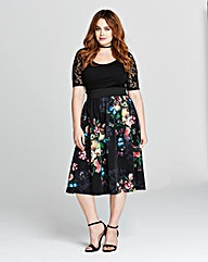 Black/Pink Print Skater Prom Dress