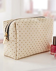 Gold Polka Dot Makeup Bag