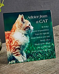 Advice from a Cat Glass Plaque