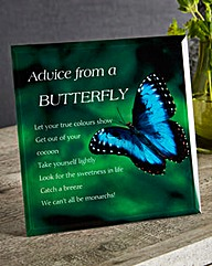 Advice from a Butterfly Glass Plaque