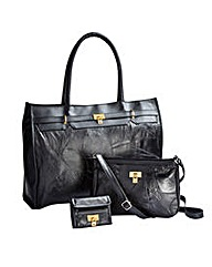 Patchwork Leather Handbag Set