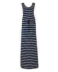 Navy Stripe Jersey Holiday Dress