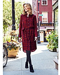 Berry/Black Checked Shirt Dress