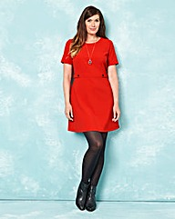 Red Crepe Shift Dress