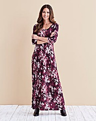 Damson Print Jersey Maxi Dress - 52 in