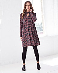 Check Print Jersey Swing Dress