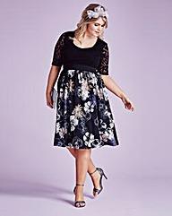 Black Floral Skater Prom Dress
