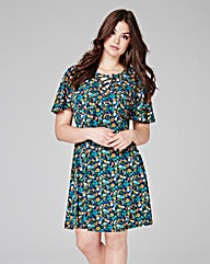 Blue Floral Print Tea Dress