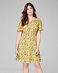 Yellow Floral Print Tea Dress