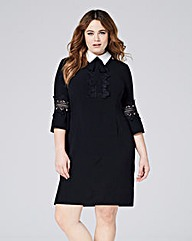 Contrast Collar Shift Dress