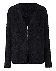 Black Fluffy Cardigan with Zip