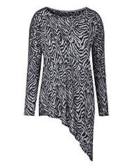 Zebra Print Asymmetric Hem Jumper