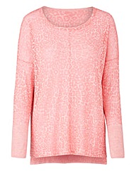 Pink Animal Print Burn Out Jumper