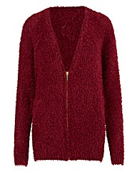 Damson Fluffy Cardigan With Zip