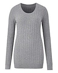 Grey Marl Ribbed Crew Neck Jumper