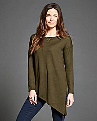 Dark Olive Asymmetric Hem Jumper