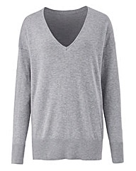 Grey Marl V Neck Jumper
