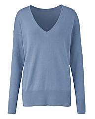 Smoke Blue V Neck Jumper