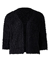 Black Fluffy Edge to Edge Shrug