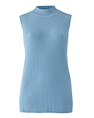 Ice Blue Sleeveless Rib Top