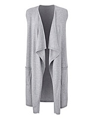 Grey Sleeveless Waterfall Cardigan