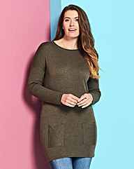 Olive Marl Tunic with Pockets