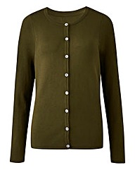 Dark Olive Crew Neck Cardigan