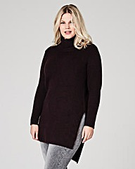 Plum Boucle Roll Neck Tunic