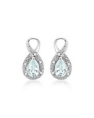 9ct White Gold Aquamarine Diamond Studs